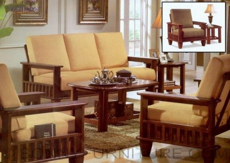 yg 323 wooden sala set 311 with center table and side table