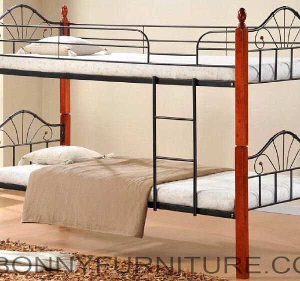 Jit B236 Double Deck Steel Bed With Wooden Post Bonny