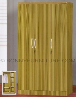 360 wardrobe cabinet 3-doors with drawers bamboo