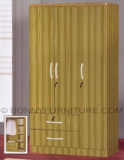 362 wardrobe cabinet 3-doors with drawers bamboo