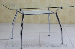 jit-266 table clear glass top chorme legs
