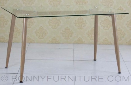 jit-290 table clear glass top wood legs