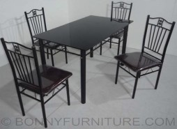 jit-7626 dining set 4-seaters metal frame cushion seat