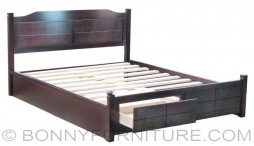zandro wooden bed queen size with drawers