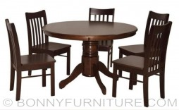 dt484-wg-dc420w-wg round dining set 6-seaters
