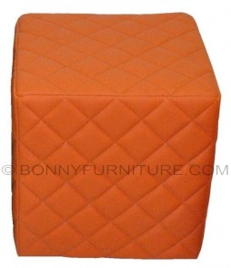 diamond stitch stool orange