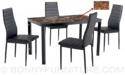 jit-8303 dining set 4-seater black leatherette seat
