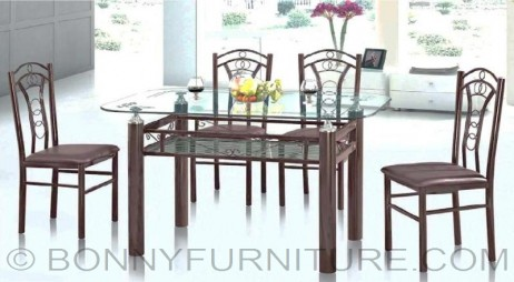 sk-g24 4-seater sk-g26 6-seater dining set metal frame clear glass top