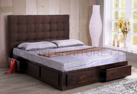 herry bed queen size with six drawers upholstered