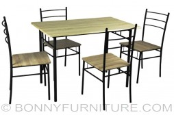 yt01004 dining set 4-seater metal laminated woode