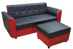 roca 3-seater sofa with stool red-black