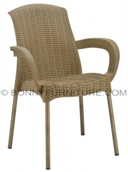 080-b plastic chair with arms beige