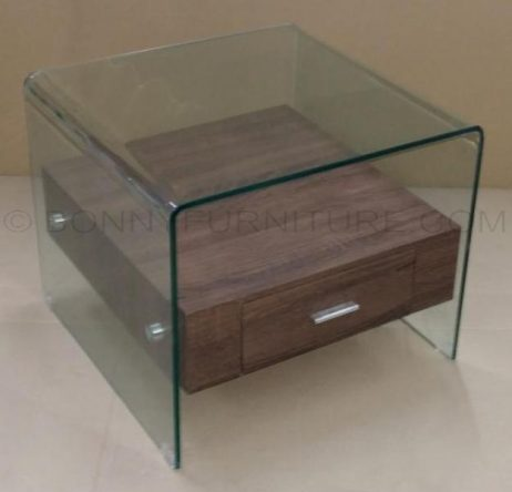 6214 side table glass with drawer