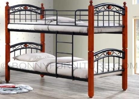 Jit Blx Double Deck Steel Bed With Wooden Post Bonny