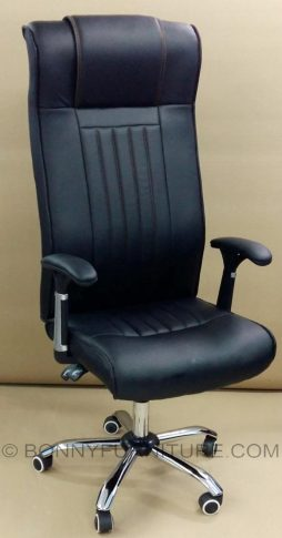 1537 leatherette executive chair reclinining chrome base