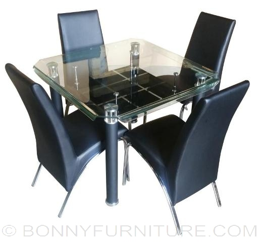 828 Dining Set 4 Seater Square