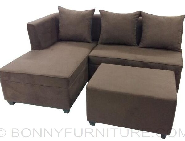 ... Mika Mini L Shape Sofa With Throw Pillow Brown ...