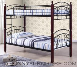 bm-b07 DOUBLE DECK STEEL BED WITH WOODEN POST