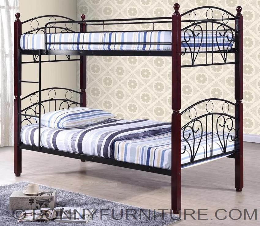 Bm B07 Double Deck Steel Bed With Wooden Post Bonny
