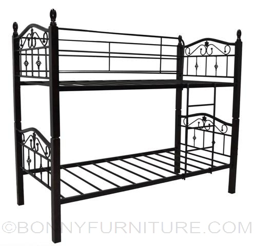 Beatrice Double Deck Steel Bed with Wooden Post - Bonny Furniture