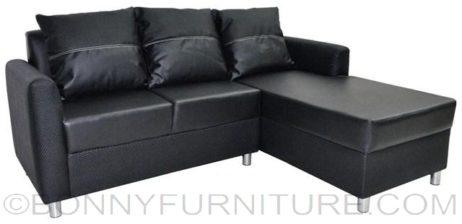 weave lshape sofa black
