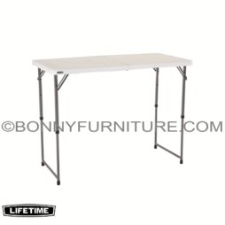 LIFETIME 4-FOOT (48 INCHES) ADJUSTABLE FOLD-IN-HALF TABLE - WHITE