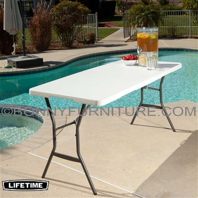 Lifetime 5 Foot 60 Inches Fold In Half Table White