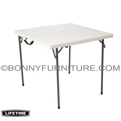 LIFETIME 37x37-INCH SQUARE FOLD-IN-HALF TABLE - WHITE